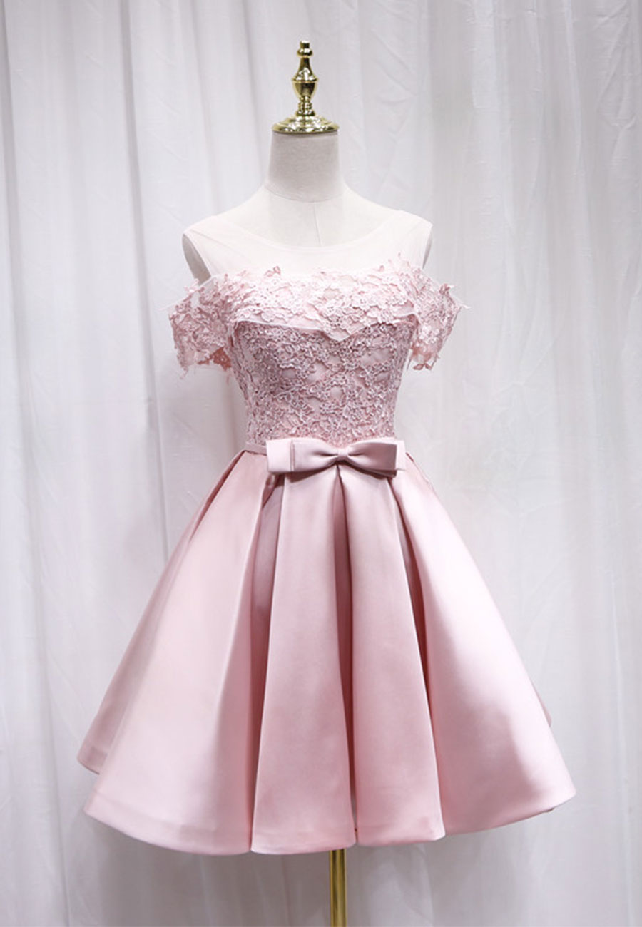 Pink satin lace short prom dress evening dress