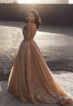 Sparkly gold sequins long prom gown evening dress