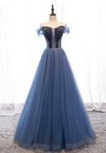Blue tulle beads long prom dress formal dress