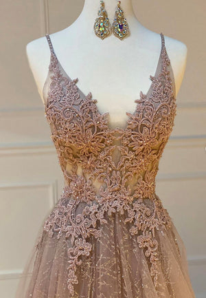 A line v neck lace sequins long prom dress