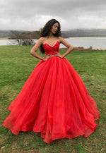 Red A line tulle long prom gown formal dress