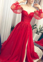 Red lace long prom dress A line evening dress