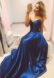 Dark blue satin long prom dress party dress