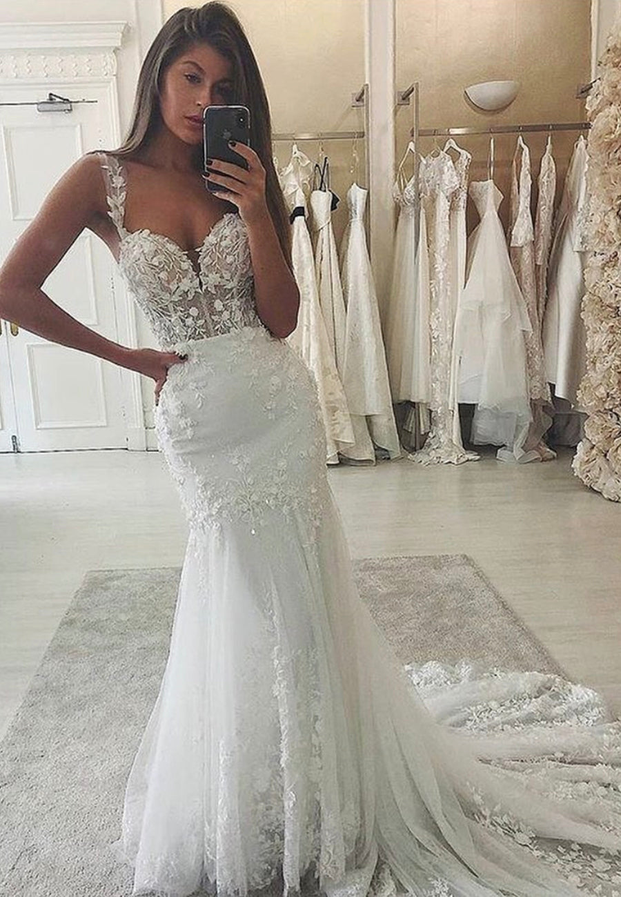 White mermaid lace long prom dress evening dress