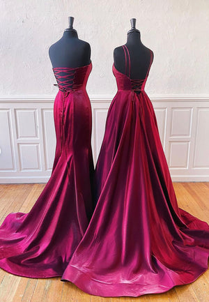 Simple satin long prom dress evening dress