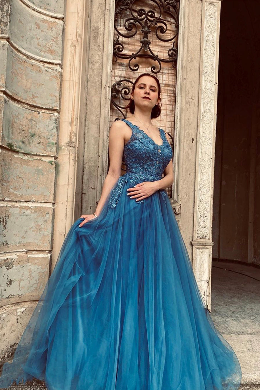 Blue v neck lace long A line prom dress evening dress