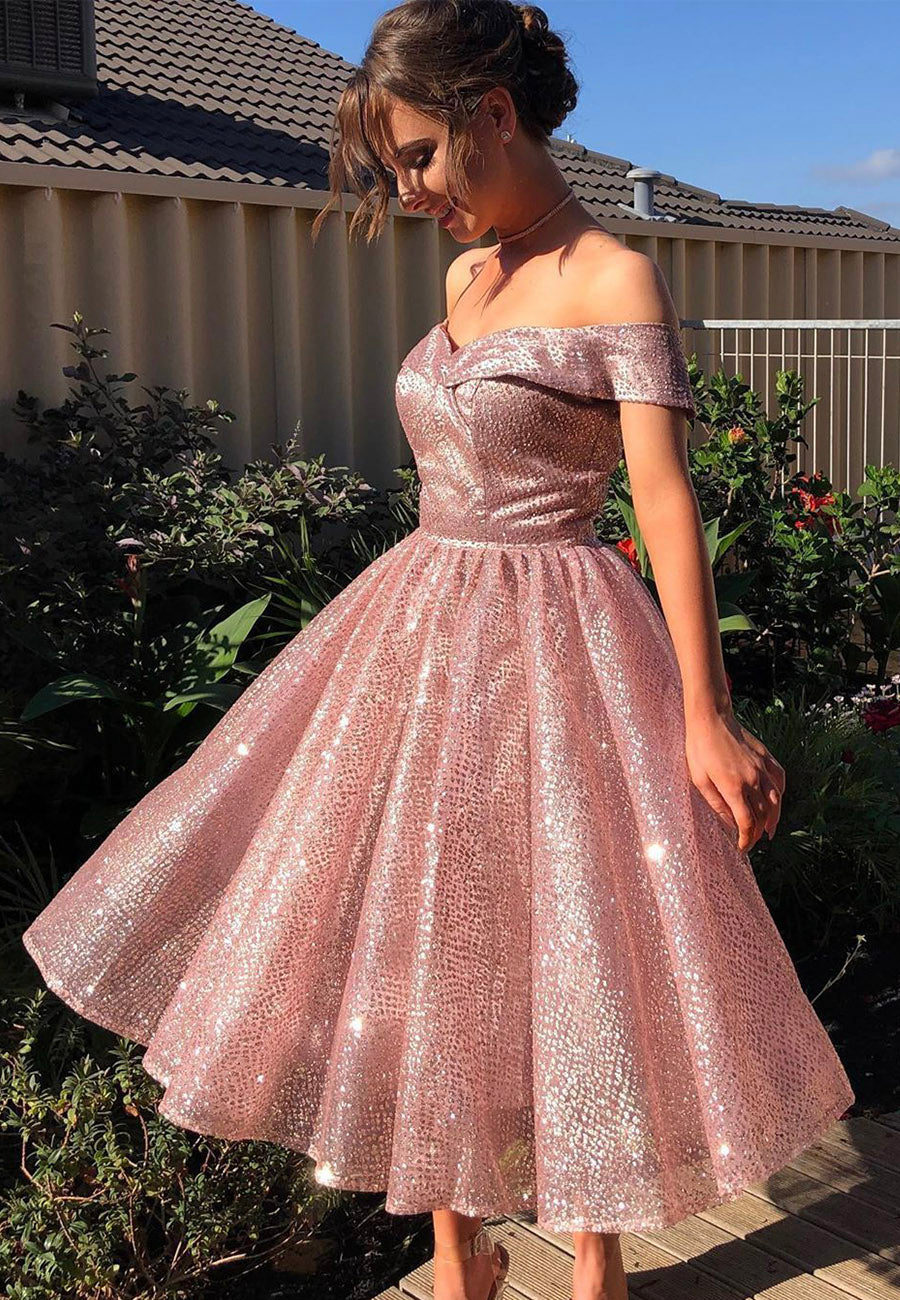 Pink sequins short prom dress homecoming dress