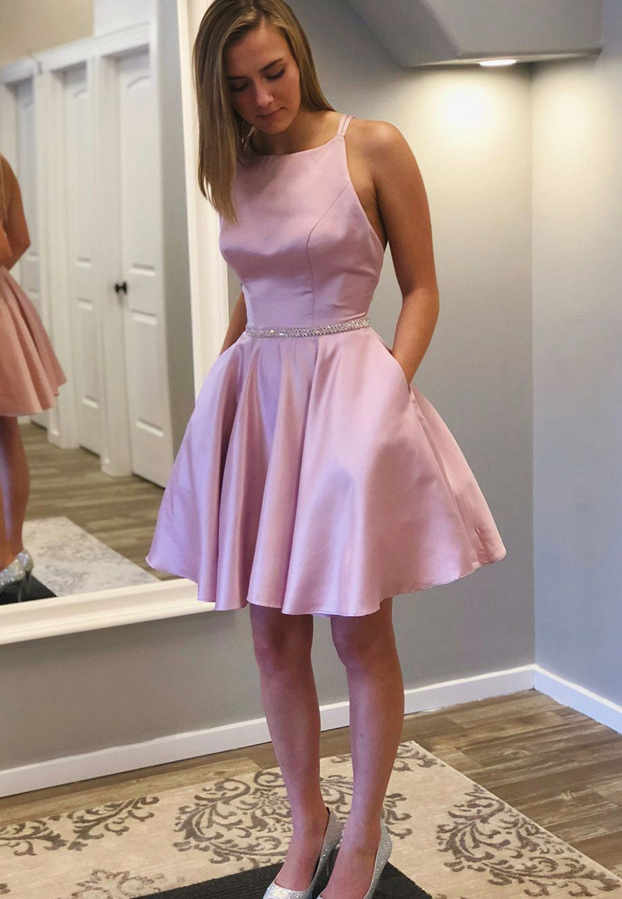 Pink A line short prom dress homecoming dress
