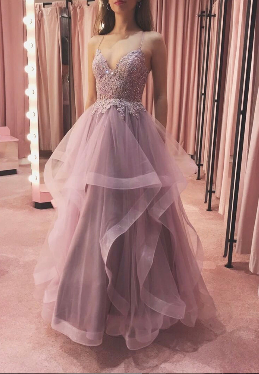 Pink v neck tulle lace long prom dress evening dress