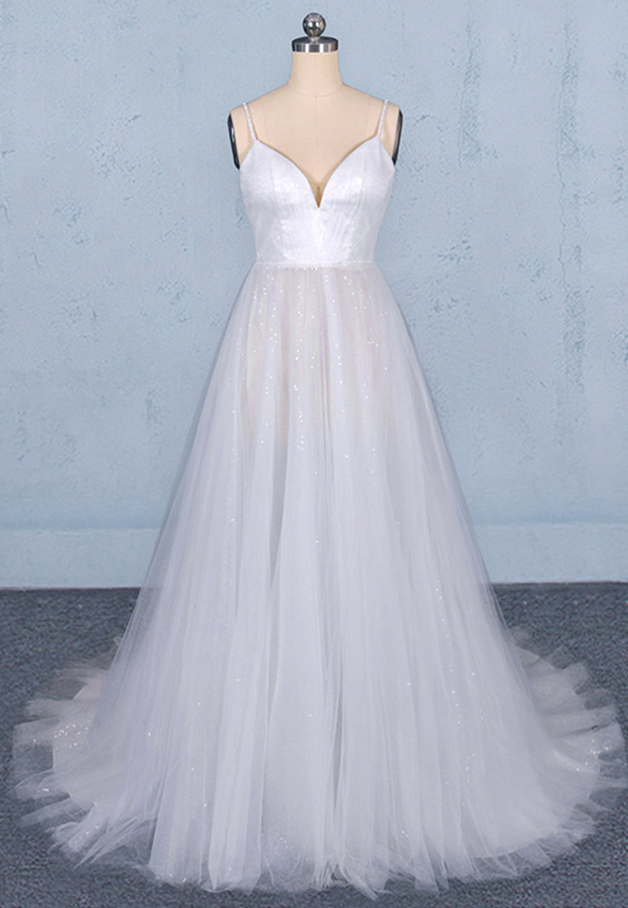 White tulle sequins long prom dress white evening dress