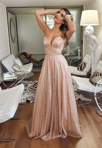 Pink tulle sequins prom dress evening dress