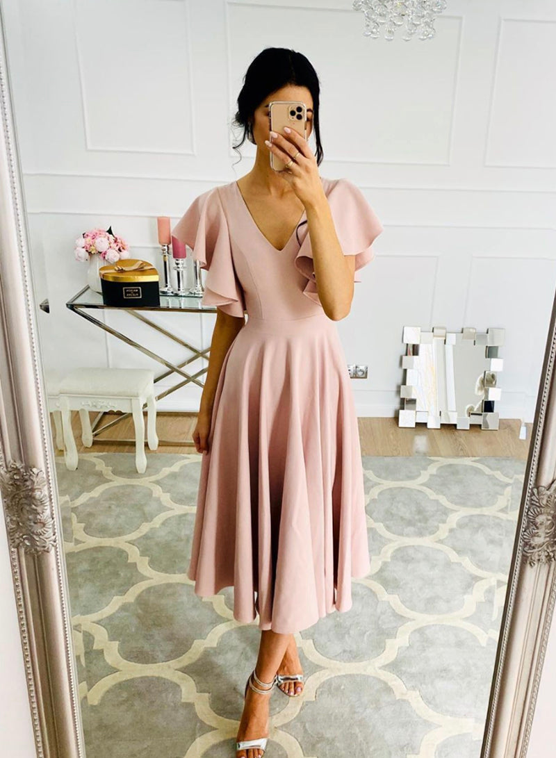 Pink chiffon short prom dress simple evening dress