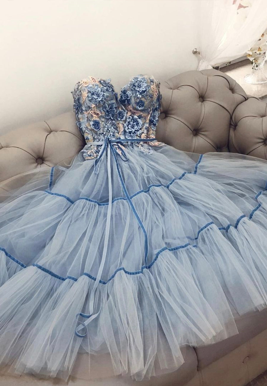 Blue lace short prom dress lace homecoming dress