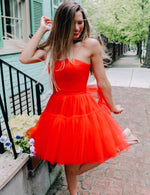 Red tulle short prom dress homecoming dress