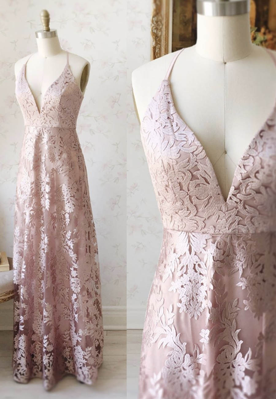 Pink v neck tulle lace prom dress evening dress