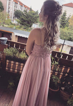 Pink chiffon lace long prom dress evening dress