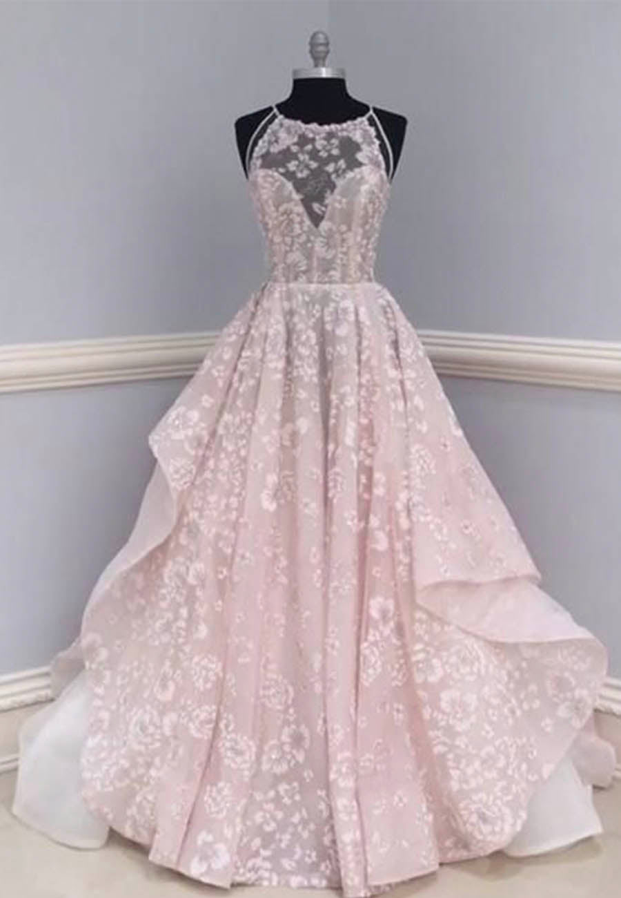 Light pink floor length lace prom dress formal dress