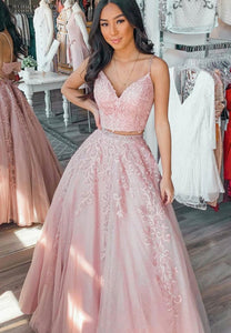 Pink two pieces lace long prom gown formal dress