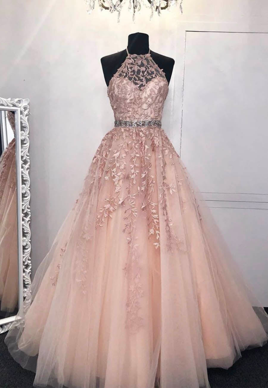 Light pink tulle lace prom gown evening dress