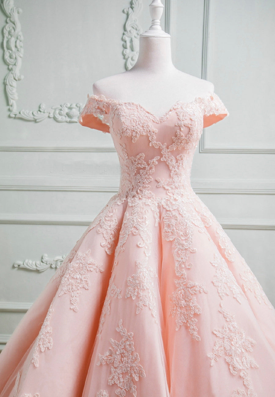 Pink lace long prom gown pink evening dress