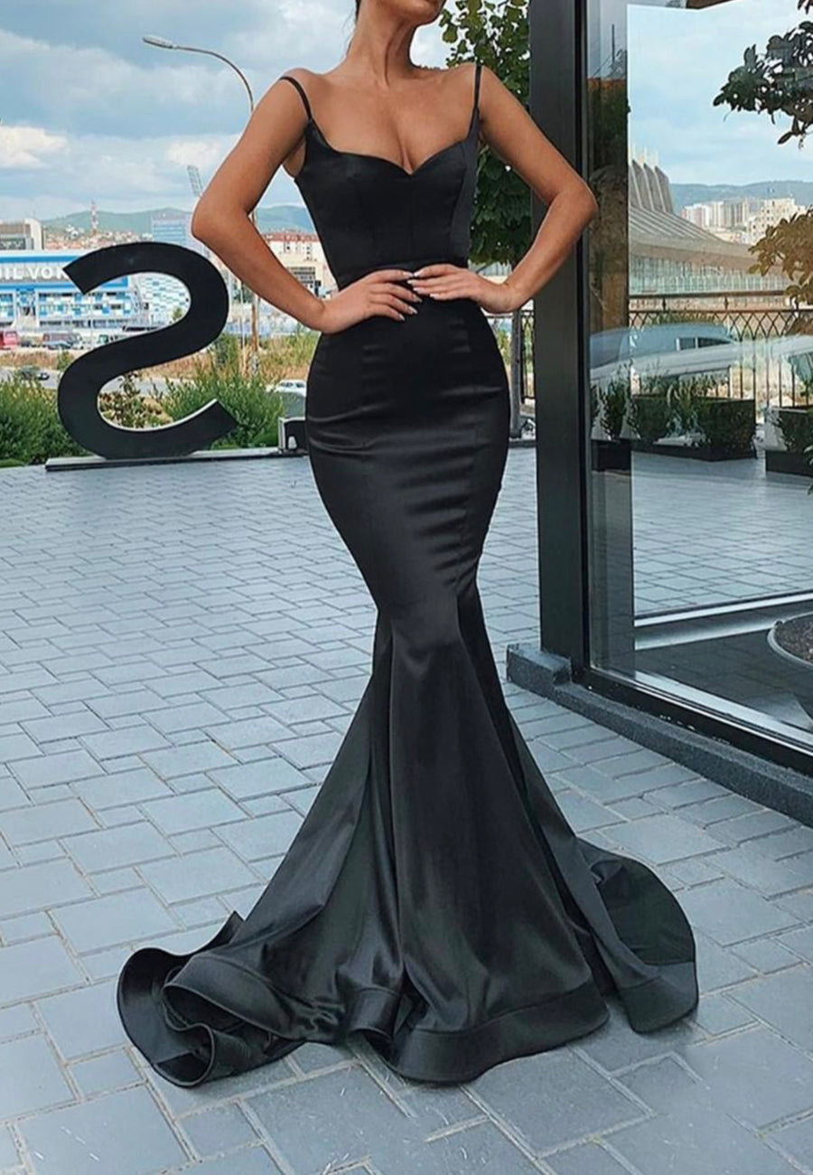 Black satin long prom dress mermaid evening dress
