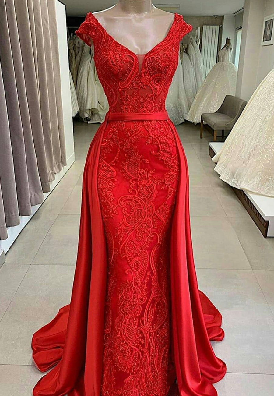 Red lace long prom dress mermaid evening dress