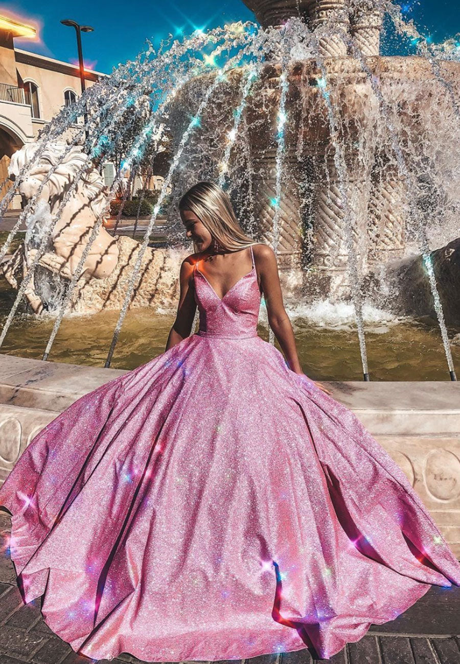 Sparkling v neck long prom dress pink evening gown