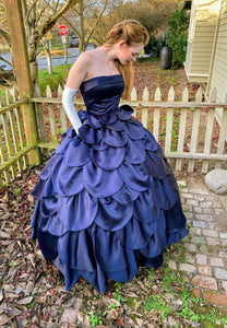 Chic dark blue satin long prom gown evening dress