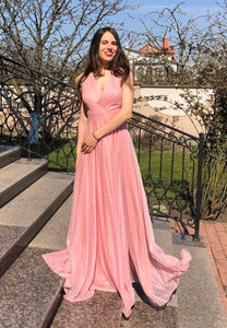 Pink v neck long prom dress simple evening dress