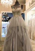Gray tulle lace long prom dress formal dress