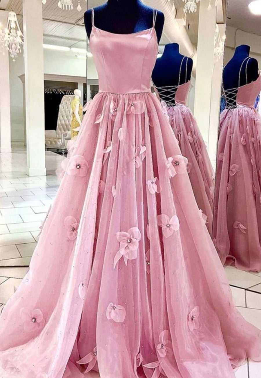 Pink tulle long ball gown dress formal dress