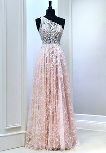 Pink lace long prom dress one shoulder evening dress