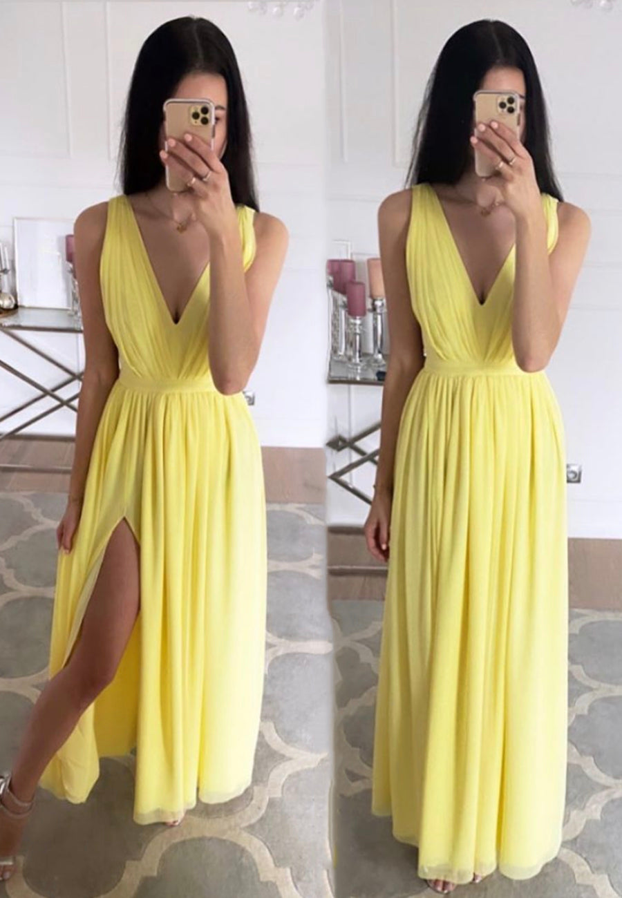 Yellow chiffon long prom dress simple evening dress