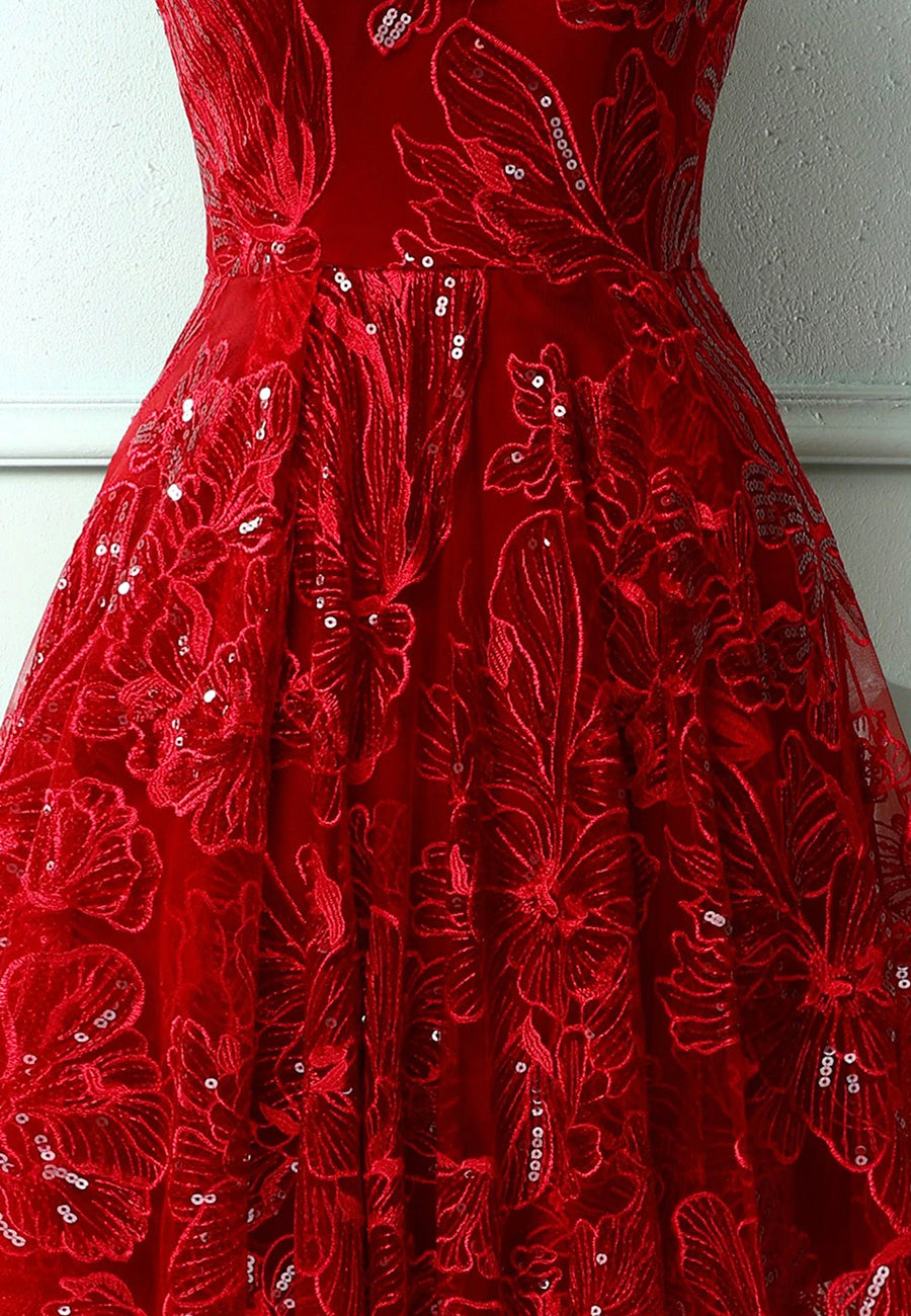 Shiny v neck sequins high low prom dress homecoming dress