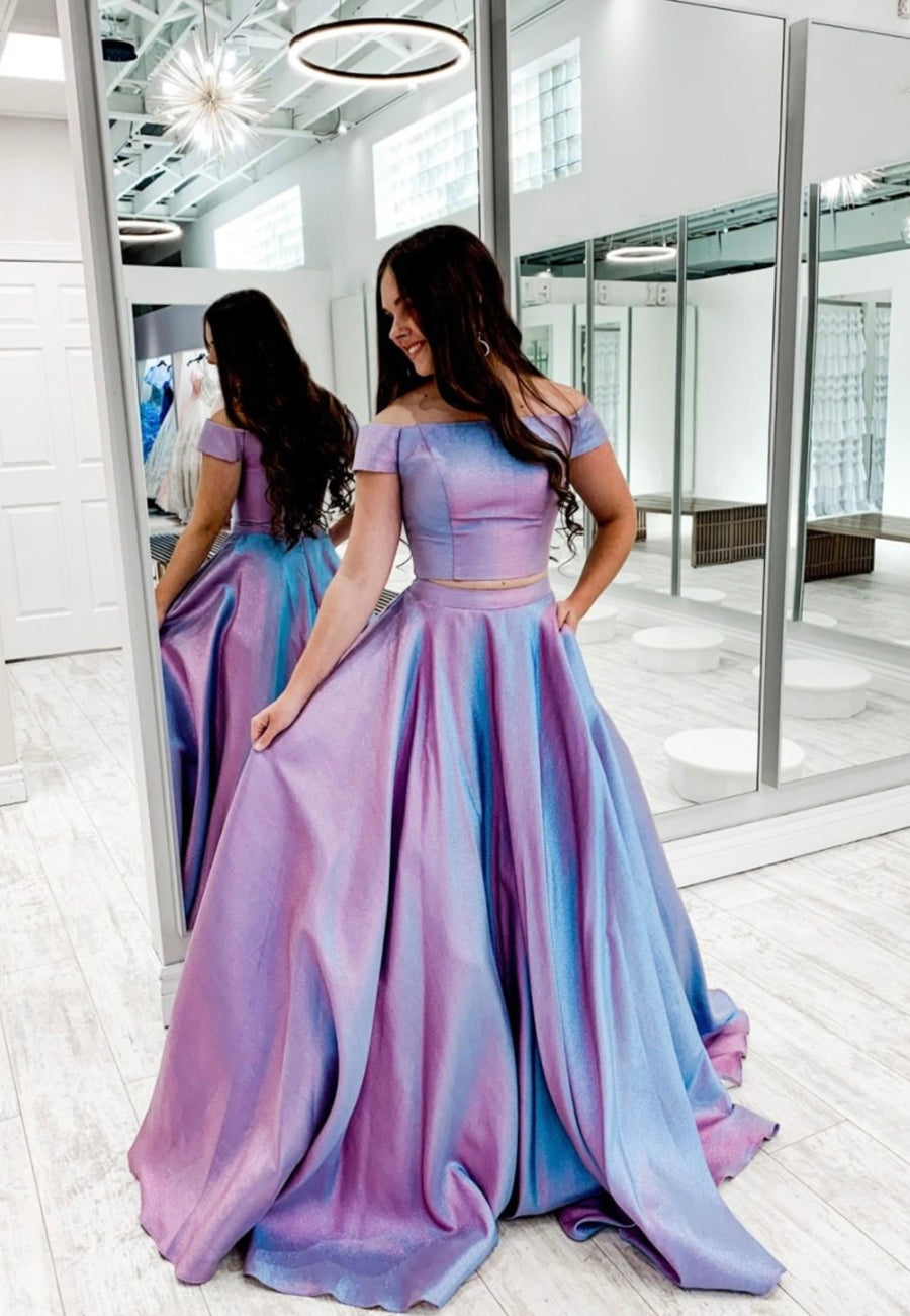 Simple satin prom dress two pieces evening dress
