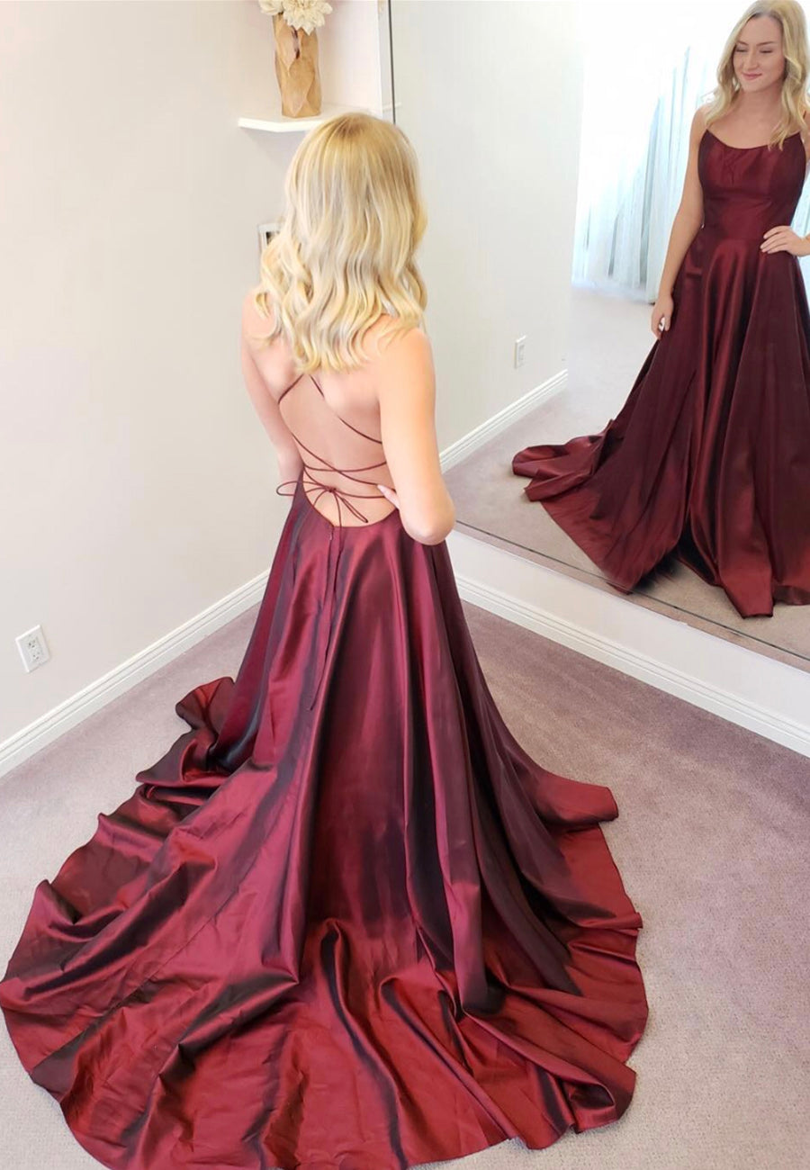 Simple satin long prom dress burgundy evening dress