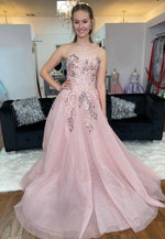 Pink tulle lace long prom gown pink formal dress