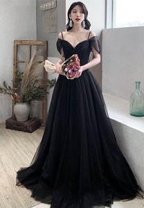 Black tulle long prom dress evening dress
