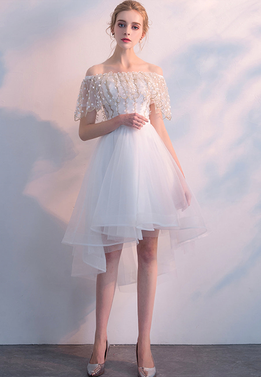 White high low tulle short prom dress homecoming dress