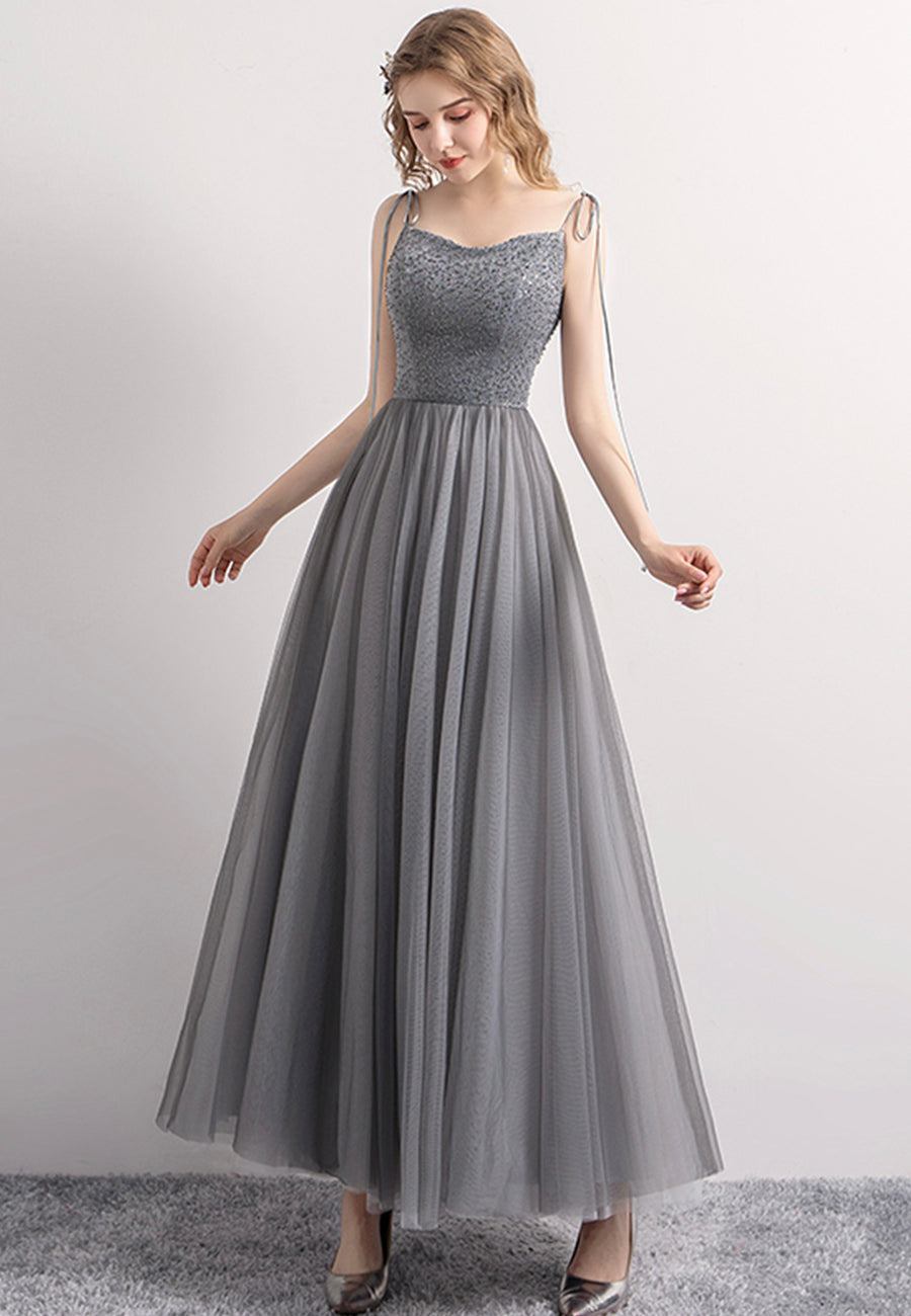 Gray tulle sequins prom dress evening dress