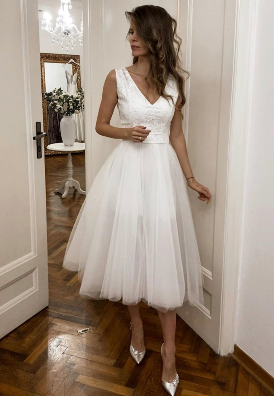 White v neck tulle short prom dress evening dress