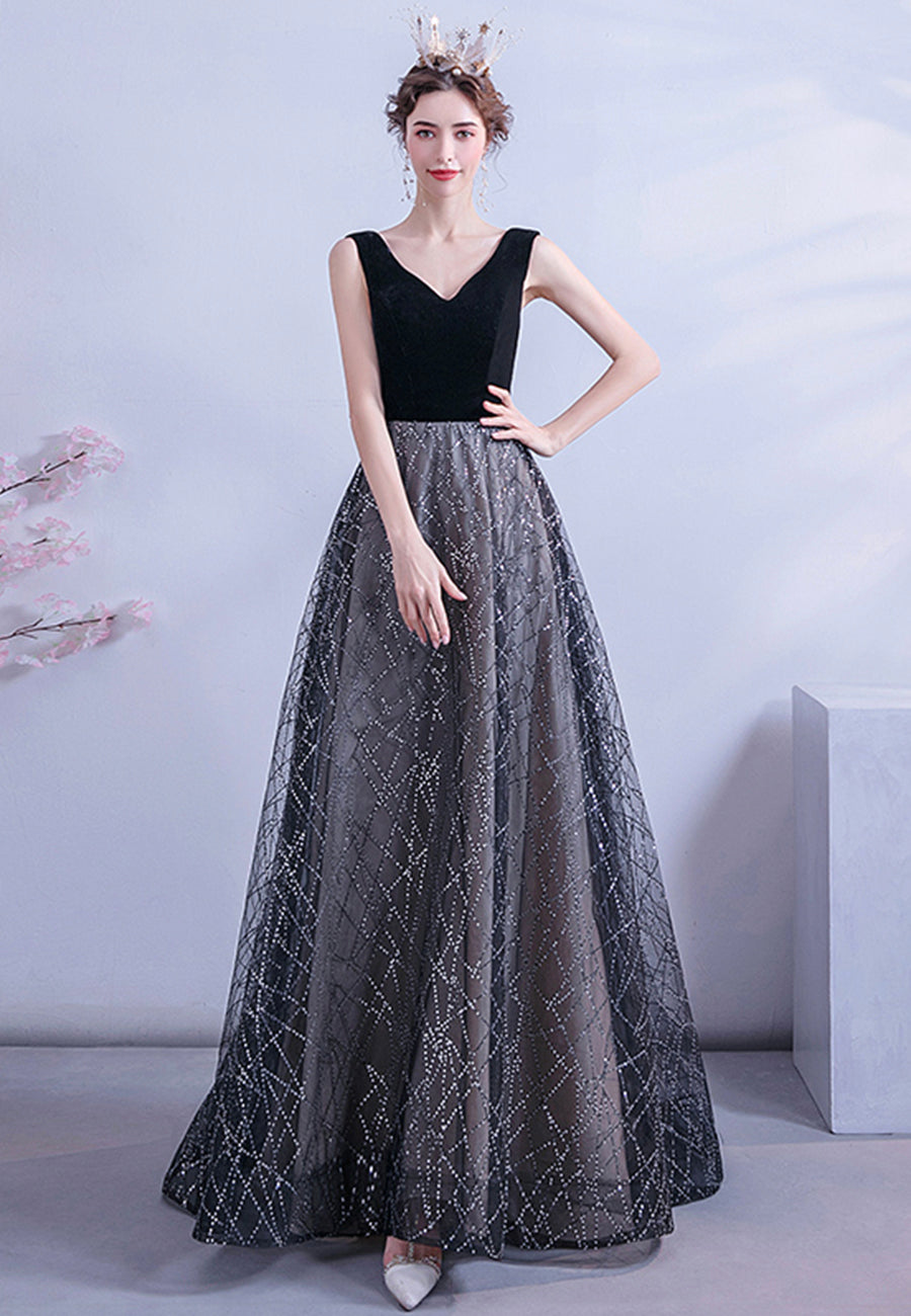 Black velvet sequins prom dress A line evening dress