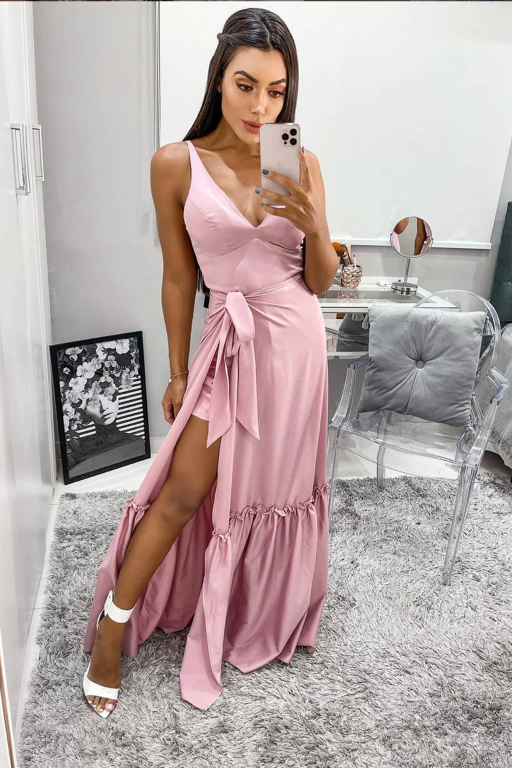 Pink v neck long A line prom dress pink evening dress