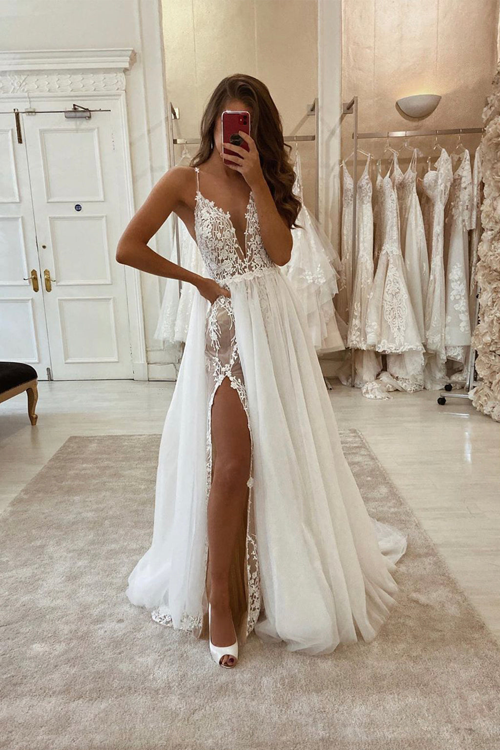 White v neck lace long prom dress white evening dress