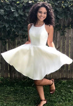 White satin short prom dress homecoming dress