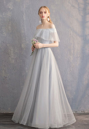 Gray tulle long prom dress simple evening dress
