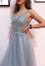 Gray v neck tulle lace prom dress formal dress