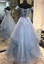 Blue tulle lace prom dress lace evening dress