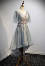 Grey v neck lace short prom dress high low evening dress