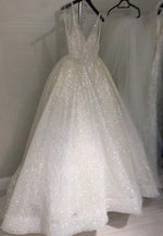 White v neck sequins long prom dress evening dress